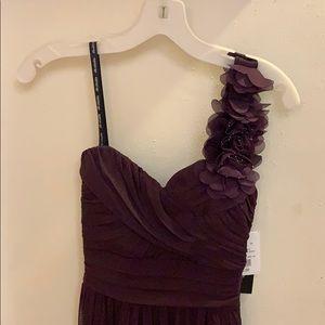 Davids bridal purple one shoulder high low dress
